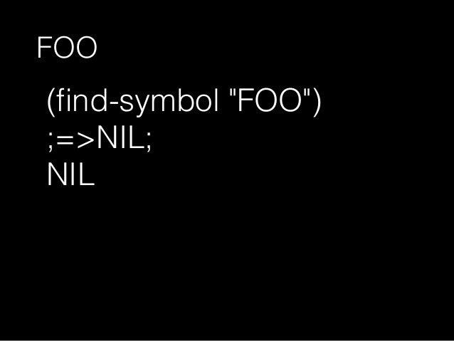 "(find-symbol ""car"" 'cl) ;=>NIL; NIL"