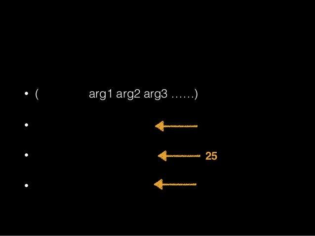 リストフォームとは • (コマンド arg1 arg2 arg3 ……) • 関数呼出フォーム • 特殊フォーム • マクロフォーム Lisp として有効 25種類 たくさん たくさん