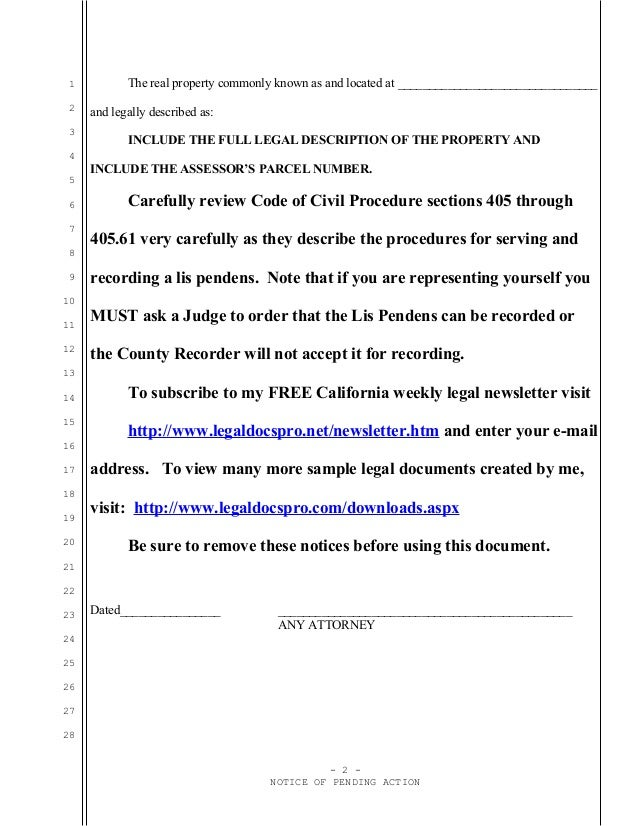 Sample California Lis pendens or notice of pending action