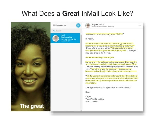 Art of Sending Bulk InMail 1. Don't send more than 10 at a time 2. Filter by school, company, and groups to personalize bu...