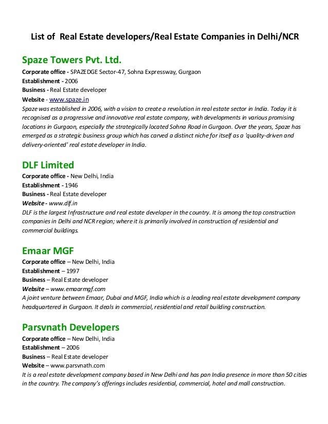 List of Real Estate developers/Real Estate Companies in