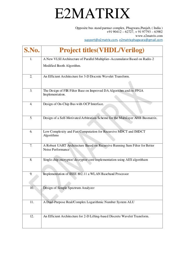 VLSI Research Projects – Case study