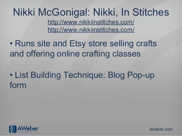 Nikki McGonigal: Nikki, In Stitches          http://www.nikkiinstitches.com/          http://www.nikkiinstitches.com/• Run...