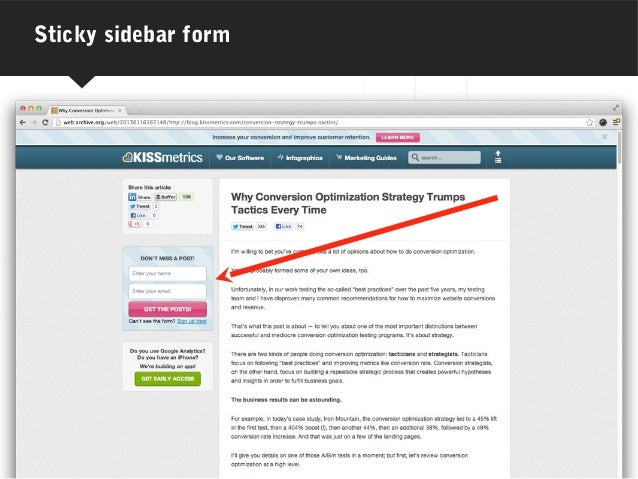 Sticky sidebar form