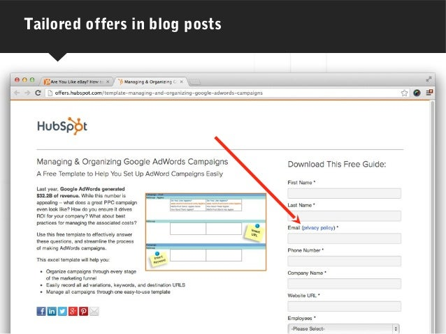 Tailored offers in blog posts