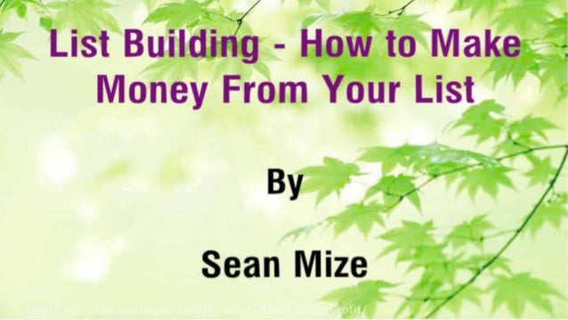 List Building - How to Make Money From Your List Slide 2