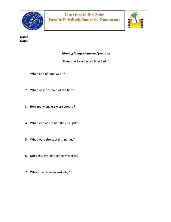 "Name:Date:                          Listening Comprehension Questions                           ""Everyone Saved when Boat ..."