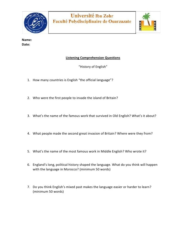 """Name:Date:                           Listening Comprehension Questions                                    """"History of Engl..."""