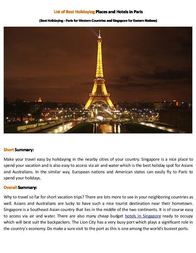 List of Best Holidaying Places and Hotels in Paris                   (Best Holidaying - Paris for Western Countries and Si...