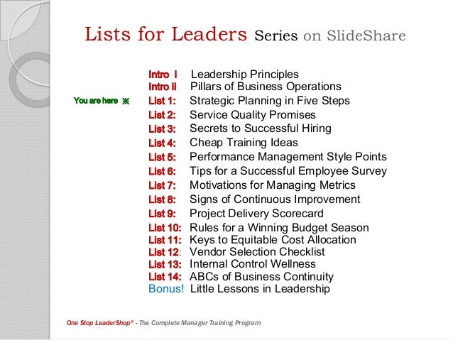 Lists for Leaders: List 1