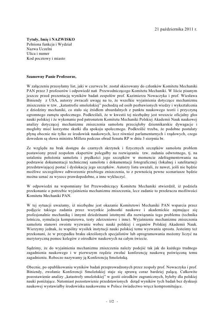 21 października 2011 r.Tytuły, Imię i NAZWISKOPełniona funkcja i WydziałNazwa UczelniUlica i numerKod pocztowy i miastoSza...