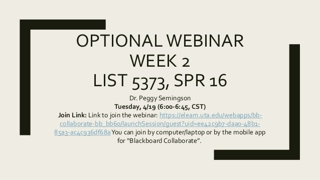 OPTIONALWEBINAR WEEK 2 LIST 5373, SPR 16 Dr. Peggy Semingson Tuesday, 4/19 (6:00-6:45, CST) Join Link: Link to join the we...