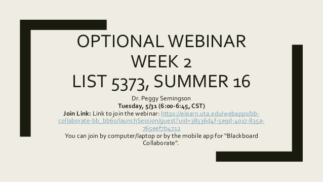 OPTIONALWEBINAR WEEK 2 LIST 5373, SUMMER 16 Dr. Peggy Semingson Tuesday, 5/31 (6:00-6:45, CST) Join Link: Link to join the...