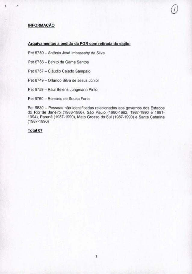 ;., INFORMAÇÃO Arquivamentos a pedido da PGR com retirada do sigilo: Pet 6750 - Antônio José Imbassahy da Silva Pet 6756 -...