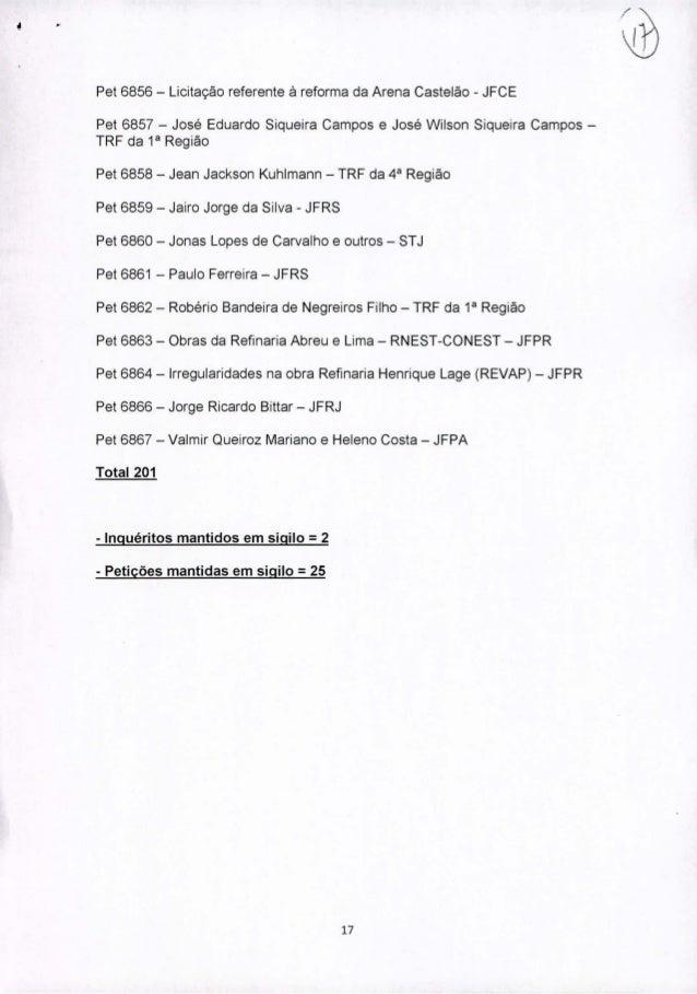 Pet 6856 - Licitação referente à reforma da Arena Castelão - JFCE Pet 6857 - José Eduardo Siqueira Campos e José Wílson Si...