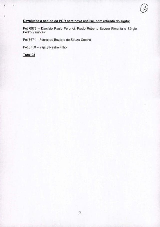 """'. """" Devolução a pedido da PGR para nova análise, com retirada do sigilo: Pet 6672 - Darcisio Paulo Perondi, Paulo Roberto..."""