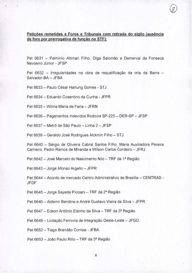 Petições remetidas a Foros e Tribunais com retirada do sigilo (ausência de foro por prerrogativa de função no STF): Pet 66...