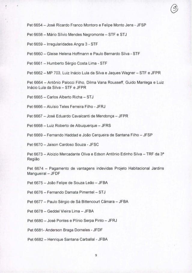 Pet 6654 - José Ricardo Franco Montore e Felipe Monto Jens - JFSP Pet 6658 - Mário Silvio Mendes Negromonte - STF e STJ Pe...