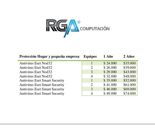 Protección Hogar y pequeña empresa   Equipos   1 Año      2 AñosAntivirus Eset Nod32                    1      $ 24.000   ...