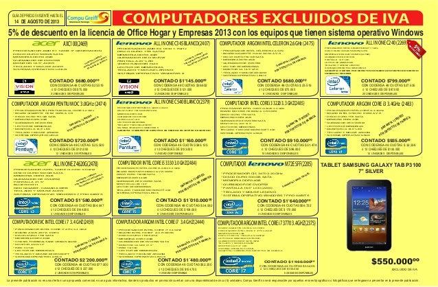 ALL IN ONE C540 BLANCO(2379) PROC DISCO DURO B 7200RPM SATA MEMORIA DDR3 GB TECLADO Y MOUSE SISTEMA OPERATIVO GARANTIA 12 ...