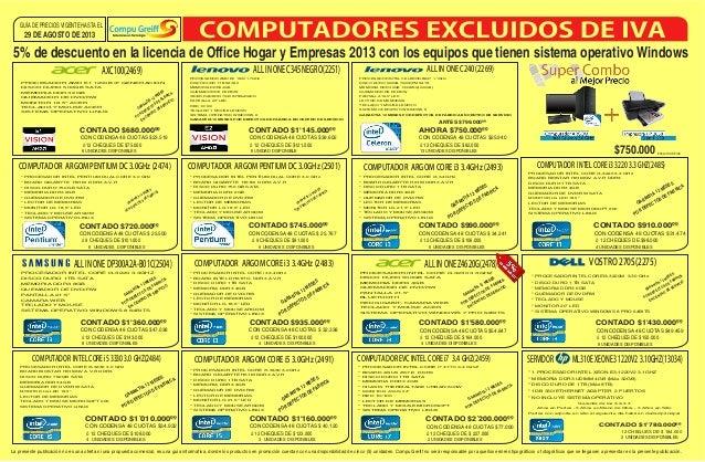 13 UNIDADES DISPONIBLES ó 12 CHEQUES DE $82.000 29 DE AGOSTO DE 2013 GUÍA DE PRECIOS VIGENTE HASTA EL La presente publicac...