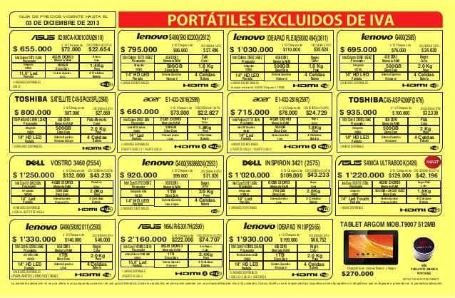 GUÍA DE PRECIOS VIGENTE HASTA EL  03 DE DICIEMBRE DE 2013  S400(59382200)(2612)  X200CA-KX010DU(2610) ó 12 Cheques de CON ...