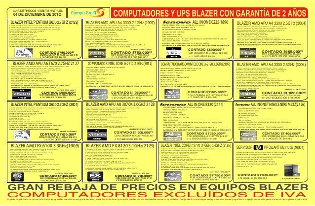 GUÍA DE PRECIOS VIGENTE HASTA EL      04 DE DICIEMBRE DE 2012   BLAZER INTEL PENTIUM G630 2.7GHZ (2122)                   ...