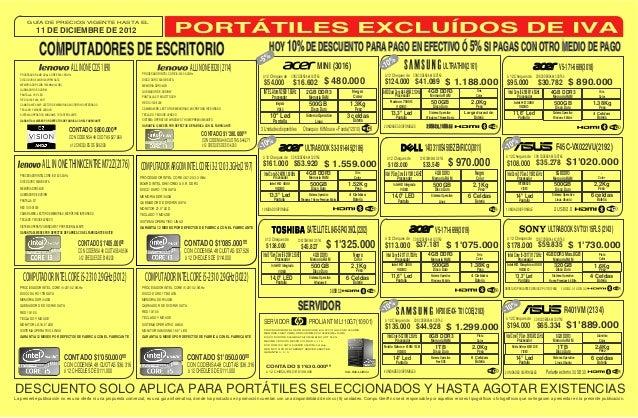 GUÍA DE PRECIOS VIGENTE HASTA EL                  11 DE DICIEMBRE DE 2012                     COMPUTADORES DE ESCRITORIO  ...