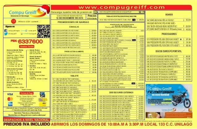 Descarga nuestra lista de precios en: GUÍA DE PRECIOS VIGENTE HASTA EL  13 DE DICIEMBRE DE 2013 Años con usted...  www.com...