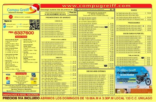 Descarga nuestra lista de precios en: GUÍA DE PRECIOS VIGENTE HASTA EL  14 DE DICIEMBRE DE 2013 Años con usted...  Precios...
