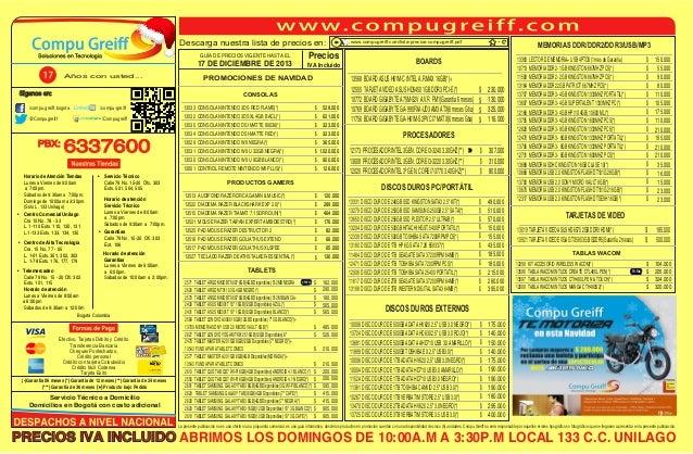 Descarga nuestra lista de precios en: GUÍA DE PRECIOS VIGENTE HASTA EL  17 DE DICIEMBRE DE 2013 Años con usted...  Precios...