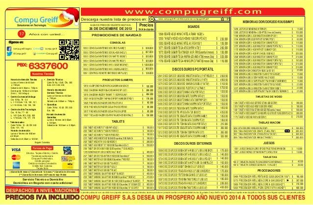 Descarga nuestra lista de precios en: GUÍA DE PRECIOS VIGENTE HASTA EL  26 DE DICIEMBRE DE 2013 Años con usted...  Precios...