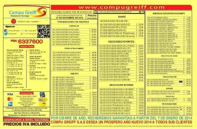 Descarga nuestra lista de precios en: GUÍA DE PRECIOS VIGENTE HASTA EL  27 DE DICIEMBRE DE 2013 Años con usted...  Precios...