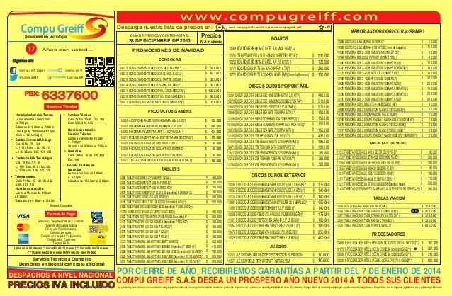 Descarga nuestra lista de precios en: GUÍA DE PRECIOS VIGENTE HASTA EL  28 DE DICIEMBRE DE 2013 Años con usted...  Precios...