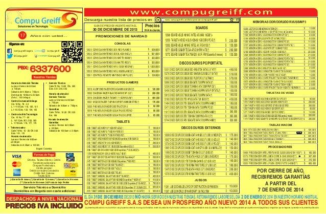 Descarga nuestra lista de precios en: GUÍA DE PRECIOS VIGENTE HASTA EL  30 DE DICIEMBRE DE 2013 Años con usted...  Precios...