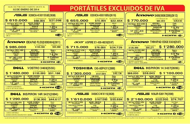 GUÍA DE PRECIOS VIGENTE HASTA EL  02 DE ENERO DE 2014  X200CA-KX011DUE(2638) ó 12 Cheques de  $ 610.000  $68.000 4GB DDR3 ...