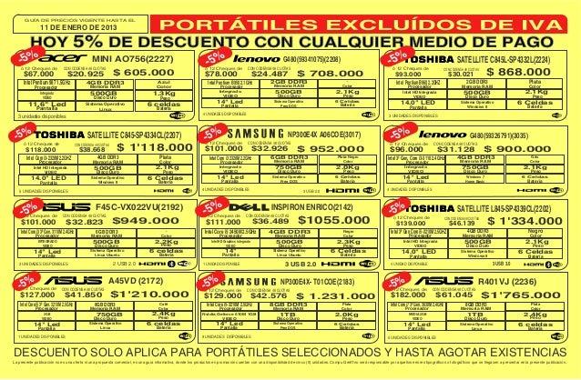 GUÍA DE PRECIOS VIGENTE HASTA EL                 11 DE ENERO DE 2013          HOY 5% DE DESCUENTO CON CUALQUIER MEDIO DE P...