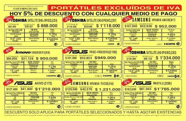 GUÍA DE PRECIOS VIGENTE HASTA EL                15 DE ENERO DE 2013         HOY 5% DE DESCUENTO CON CUALQUIER MEDIO DE PAG...