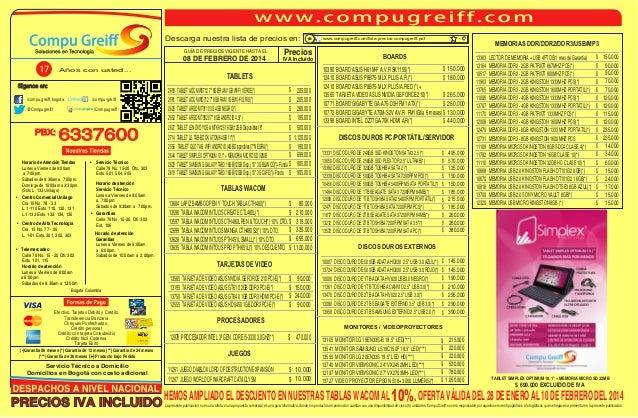 Descarga nuestra lista de precios en:  Años con usted...  Siganos en: /compu-greiff  /compu.greiff.bogota  /Compugreiff  @...