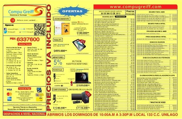 La presente publicación no es una oferta ni una propuesta comercial, es una guía informativa, donde los productos en promo...