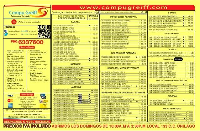 Descarga nuestra lista de precios en: GUÍA DE PRECIOS VIGENTE HASTA EL  15 DE NOVIEMBRE DE 2013 Años con usted...  Siganos...