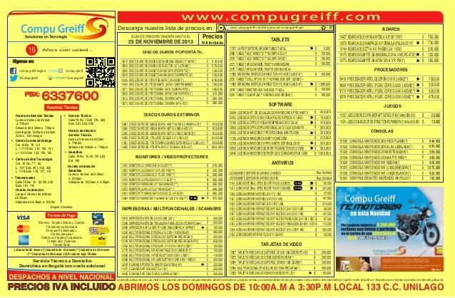 Descarga nuestra lista de precios en: GUÍA DE PRECIOS VIGENTE HASTA EL  25 DE NOVIEMBRE DE 2013 Años con usted...  Siganos...