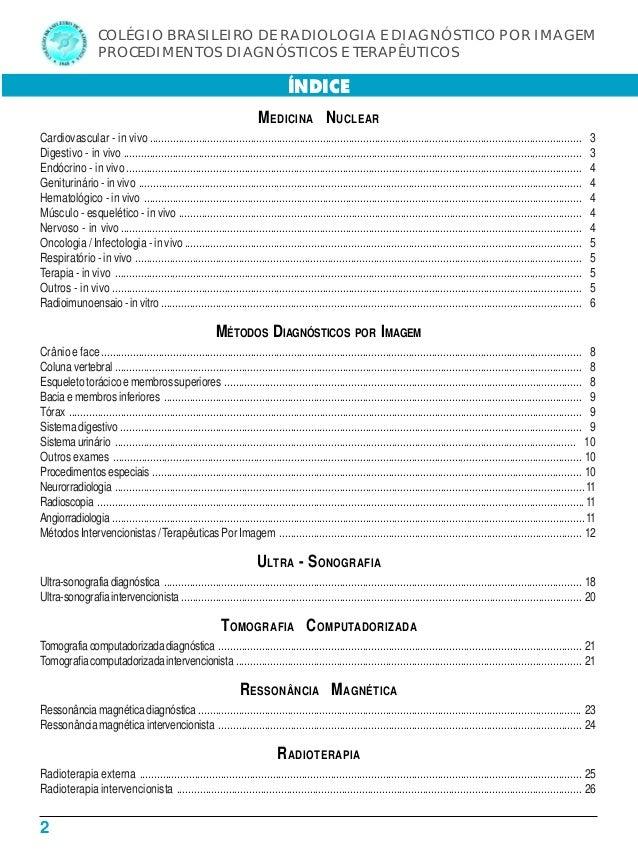 2 COLÉGIO BRASILEIRO DE RADIOLOGIA E DIAGNÓSTICO POR IMAGEM PROCEDIMENTOS DIAGNÓSTICOS E TERAPÊUTICOS MEDICINA NUCLEAR Car...