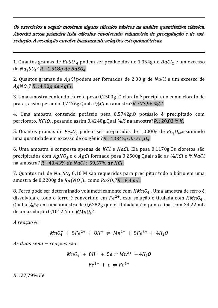 Os exercícios a seguir mostram alguns cálculos básicos na análise quantitativa clássica. Abordei nessa primeira lista cálc...