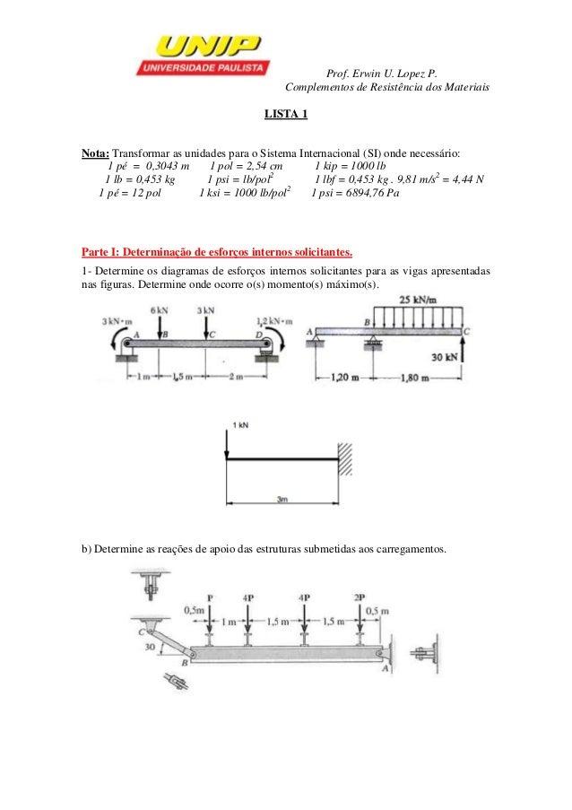 Prof. Erwin U. Lopez P.  Complementos de Resistência dos Materiais  LISTA 1  Nota: Transformar as unidades para o Sistema ...