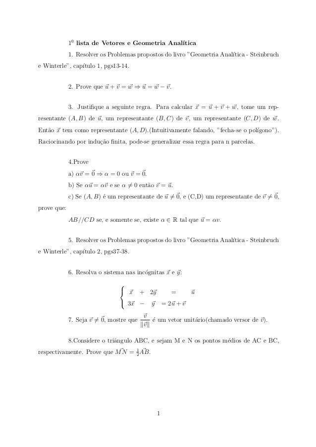 10 lista de Vetores e Geometria Anal´                                                 ıtica             1. Resolver os Pro...