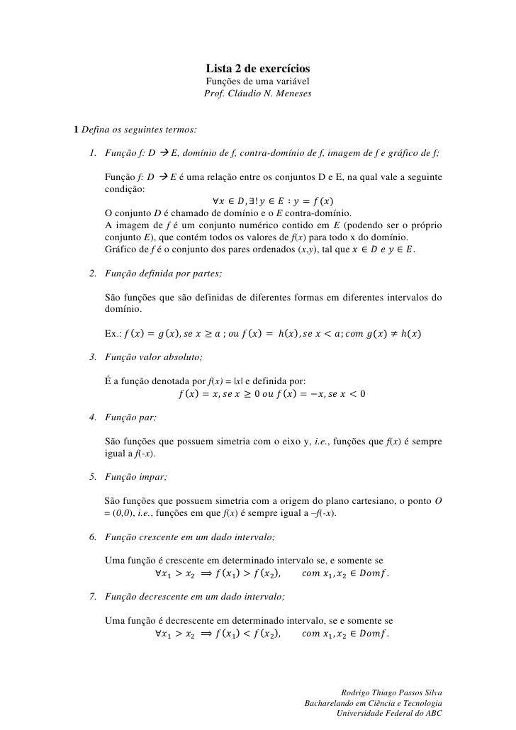 Lista 2   - FUV - Resolução