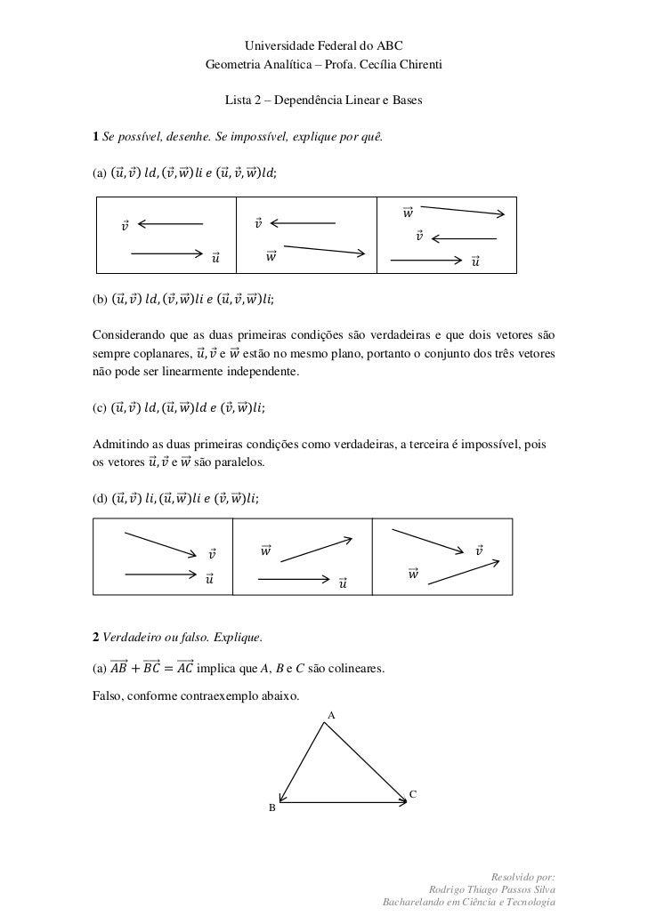 Universidade Federal do ABC                                      Geometria Analítica – Profa. Cecília Chirenti            ...