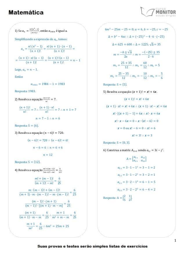 1 1) Se ܽ = !൫మିଵ൯ ሺାଵ)! , então ܽଵଽ଼ସ é igual a. Simplificando a expressão de ܽ, temos: ܽ = ݊! ሺ݊ଶ − 1) ሺ݊ + 1)! = ...