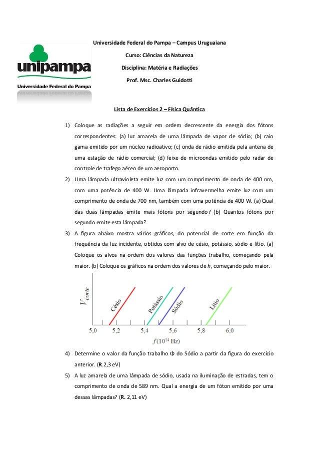 Universidade Federal do Pampa – Campus Uruguaiana Curso: Ciências da Natureza Disciplina: Matéria e Radiações Prof. Msc. C...